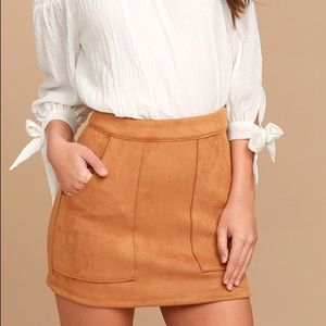 Suede Tan Skirt with Front Pockets